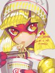1girl 2018 arms_(game) bangs beanie blonde_hair chinese_clothes domino_mask facepaint food hat highres mask min_min_(arms) noodles short_hair shorts solo yasaikakiage