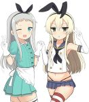 1boy 1girl ;3 ;d absurdres apron black_panties blend_s blonde_hair commentary cowboy_shot crop_top crossover elbow_gloves gloves green_eyes grey_hair hair_between_eyes hair_ribbon hairband hand_holding hank_(spider921) highleg highleg_panties highres interlocked_fingers kantai_collection kanzaki_hideri long_hair look-alike looking_at_viewer microskirt midriff navel one_eye_closed open_mouth panties puffy_short_sleeves puffy_sleeves ribbon sailor_collar shimakaze_(kantai_collection) short_sleeves simple_background skirt smile stile_uniform striped striped_legwear thigh-highs thong trap underwear v waist_apron waitress white_background white_gloves