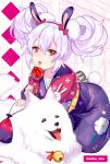 1girl animal_ears azur_lane bell blush bow bunny_tail candy_apple dog eyebrows_visible_through_hair floral_print food hair_between_eyes hairband holding holding_food japanese_clothes jingle_bell kimono kneeling laffey_(azur_lane) lavender_hair leaning_forward looking_at_viewer open_mouth polka_dot polka_dot_background pouch rabbit_ears red_bow red_eyes tail tongue tongue_out twintails twitter_username vhumiku white_background