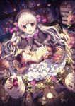 1girl :d artist_name bangs beret black_gloves black_hat blurry book bookshelf boots bow bowtie capelet checkerboard_cookie clover cookie cupcake depth_of_field dress fate/extra fate_(series) feathers flower food food_print frilled_dress frills full_body fur_trim gloves grey_hair hair_ribbon hat highres holding holding_book library long_hair long_sleeves looking_at_viewer mushroom_print nursery_rhyme_(fate/extra) on_floor open_book open_mouth plate potion ribbon rosuuri round_teeth sitting smile solo sparkle tareme teapot teeth tray violet_eyes watch wooden_floor