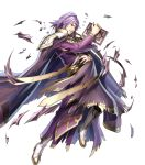 1boy armor black_pants book boots cape circlet fire_emblem fire_emblem:_seima_no_kouseki fire_emblem_heroes haru_(toyst) highres holding holding_book injury knee_boots lips lyon_(fire_emblem) male_focus medium_hair official_art pants parted_lips purple_cape purple_hair robe scratches shoulder_armor solo standing tassel teeth torn_cape torn_clothes torn_sleeves turtleneck violet_eyes white_footwear wide_sleeves
