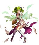 1girl dress elbow_gloves fire_emblem fire_emblem:_seima_no_kouseki fire_emblem_heroes full_body gloves green_hair highres konfuzikokon l'arachel official_art solo thigh-highs transparent_background zettai_ryouiki