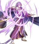 1boy armor book boots cape casting_spell circlet fire_emblem fire_emblem:_seima_no_kouseki fire_emblem_heroes haru_(toyst) highres holding holding_book lips lyon_(fire_emblem) magic male_focus medium_hair official_art open_mouth purple_cape purple_hair robe serious shoulder_armor solo standing tassel teeth turtleneck violet_eyes white_footwear wide_sleeves