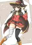 1girl artist_request bandage bandaged_leg belt black_gloves black_hair black_legwear button_eyes cape collar dress fingerless_gloves gloves hat highres kokutou_(kazuakifca) kono_subarashii_sekai_ni_shukufuku_wo! megumin mismatched_legwear red_dress red_eyes short_hair_with_long_locks single_thighhigh solo thigh-highs witch_hat