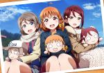 3girls :d ahoge bangs blue_eyes blush bow braid brown_coat character_doll clover_hair_ornament coat copyright_name dress fur-trimmed_coat fur_trim grey_hair hair_bow hair_ornament hairclip hat headwear_writing highres jacket long_hair long_sleeves looking_at_viewer love_live! love_live!_sunshine!! multiple_girls nesoberi open_mouth orange_hair photo_(object) red_eyes redhead sakurauchi_riko scarf shiimai short_hair side_braid sitting smile sweater sweater_dress takami_chika watanabe_you white_dress white_scarf white_sweater yellow_bow yellow_eyes