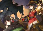 2girls bandage bandaged_leg belt black_gloves black_hair black_legwear blush braid breasts cape collar demon dress fingerless_gloves fire gloves hat highres holding holding_staff kono_subarashii_sekai_ni_shukufuku_wo! large_breasts long_hair megumin mishima_kurone mismatched_legwear multiple_girls official_art open_mouth red_dress red_eyes short_hair_with_long_locks single_thighhigh staff thigh-highs wings witch_hat yunyun_(konosuba)
