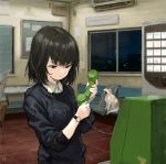 1girl :< air_conditioner animal artist_name bangs bench black_eyes black_hair cat clothes_removed corded_phone floor highres holding holding_phone indoors jacket long_sleeves newspaper night no_smoking original pants payphone phone sho_(sho_lwlw) short_hair solo_focus sweater vending_machine watch watch window