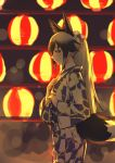 1girl alternate_costume animal_ears backlighting black_hair blurry blush bokeh cowboy_shot depth_of_field emoshon flower fox_ears fox_tail from_side gradient_hair hair_flower hair_ornament hand_on_hip hand_on_own_chest highres japanese_clothes kemono_friends kimono lantern long_hair long_sleeves looking_at_viewer looking_to_the_side multicolored_hair ponytail print_kimono red_eyes side_glance sidelocks silver_fox_(kemono_friends) silver_hair sketch solo standing tail wide_sleeves yukata
