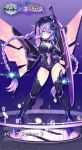 1girl azur_lane bangs braid breasts cleavage cleavage_cutout commentary_request company_connection copyright_name covered_navel eyebrows_visible_through_hair full_body gloves holding holding_sword holding_weapon leotard logo long_hair looking_at_viewer mechanical_wings neptune_(series) official_art purple_hair purple_heart simple_background solo standing sword thigh-highs tsunako twin_braids twintails weapon wings