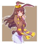 1girl animal_ears blush brown_background brown_eyes brown_hair cropped_legs crown eyebrows_visible_through_hair hair_between_eyes hands_clasped highres iesupa looking_at_viewer outdoors own_hands_together rabbit_ears red-framed_eyewear rwby scarf sketch smile solo velvet_scarlatina white_border