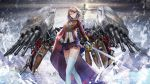 1girl aiguillette azur_lane bangs battleship black_skirt blonde_hair blue_ribbon blush braid breasts buttons cannons closed_mouth clouds cloudy_sky cowboy_shot crown_braid earrings expressionless eyebrows floating_hair fractal french_braid gloves hair_ornament hair_ribbon hand_on_hip holding holding_sword holding_weapon jewelry large_breasts legs_crossed light_particles long_sleeves looking_at_viewer machinery mast military military_uniform military_vehicle miniskirt pleated_skirt prince_of_wales_(azur_lane) rapier red_eyes ribbon ship short_hair skirt sky smile solo splashing standing standing_on_liquid swept_bangs sword tanikku thigh-highs tsurime turret turrets uniform warship water watercraft watson_cross weapon white_gloves white_legwear wind zettai_ryouiki