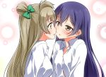 2girls bangs blue_hair blush grey_hair hair_between_eyes hair_ribbon long_hair long_sleeves looking_at_another love_live! love_live!_school_idol_project minami_kotori multiple_girls one_side_up open_mouth otonokizaka_school_uniform ribbon school_uniform shirt simple_background sonoda_umi umekichi upper_body white_shirt yellow_eyes yuri