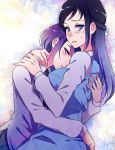 2girls blue_eye blue_eyes blue_hair blush dokidoki!_precure hishikawa_rikka hug kenzaki_makoto long_sleeves looking_at_viewer multiple_girls negom precure purple_hair short_hair violet_eyes yuri