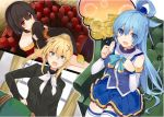 3girls :d aqua_(konosuba) bare_shoulders black_gloves black_hair black_shirt blonde_hair blue_eyes blue_hair blue_skirt coin collarbone collared_shirt covered_mouth darkness_(konosuba) detached_sleeves dress_shirt eyebrows eyebrows_visible_through_hair fingerless_gloves gloves gold hair_ornament hand_on_hip hat hat_removed headwear_removed high_ponytail highres holding holding_hat kono_subarashii_sekai_ni_shukufuku_wo! long_hair looking_at_viewer megumin mishima_kurone multiple_girls novel_illustration official_art open_mouth pleated_skirt red_eyes ribbon shirt short_hair sitting skirt smile strapless thigh-highs thought_bubble white_legwear white_ribbon witch_hat x_hair_ornament
