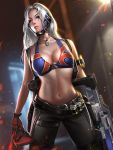 1girl belt bikini_top blue_eyes breasts cleavage closed_mouth dog_tags genderswap genderswap_(mtf) gloves gun holster large_breasts legs_apart liang_xing lips long_hair looking_at_viewer mask mask_removed navel overwatch scar scar_across_eye shoulder_holster silver_hair soldier:_76_(overwatch) solo standing watermark weapon web_address