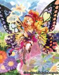 1girl blonde_hair blue_eyes breasts butterfly_wings cardfight!!_vanguard cleavage clouds company_name copyright_name curly_hair flower hair_flower hair_ornament hair_over_one_eye leaf long_hair moreshan official_art open_mouth side_ponytail sky solo sparkle teeth thigh-highs wand weather_girl_shake wings