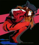 1girl animal_ears animal_hat badge bangs black_hat blue_eyes bodysuit bodysuit_under_clothes breasts brown_hair button_badge cabbie_hat evangelion:_3.0_you_can_(not)_redo hair_between_eyes hands_in_pockets hat hat_ornament jacket kss long_hair long_sleeves looking_at_viewer neon_genesis_evangelion plugsuit pocket rebuild_of_evangelion red_bodysuit single_vertical_stripe solo souryuu_asuka_langley squatting track_jacket turtleneck