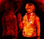 1girl alessa_gillespie blonde_hair breasts commentary_request dual_persona enigma_(nig69) heather_mason jacket memory_of_alessa mirror reflection short_hair silent_hill silent_hill_3 skirt sleeveless sleeveless_turtleneck solo turtleneck vest wristband