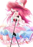 1girl :d absurdres bangs blue_bow blue_eyes bow commentary_request detached_sleeves dress elizabeth_bathory_(fate) elizabeth_bathory_(fate)_(all) eyebrows_visible_through_hair fang fate/extra fate/extra_ccc fate_(series) flower hair_between_eyes hand_up hat highres holding holding_microphone layered_dress liu_liu long_hair long_sleeves microphone microphone_stand open_mouth pink_dress pink_flower pink_hat pink_rose polka_dot polka_dot_dress red_flower red_rose rose simple_background smile solo striped top_hat two_side_up v vertical-striped_hat vertical_stripes very_long_hair white_background