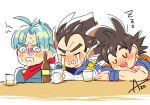 3boys alcohol annoyed armor artist_name azu_(kirara310) beer black_hair blue_hair blush blush_stickers bottle closed_eyes crying cup dougi dragon_ball dragon_ball_super dragonball_z drink drinking_glass drooling eyebrows_visible_through_hair father_and_son frown gloves jacket kerchief looking_away male_focus multiple_boys open_mouth short_hair simple_background sitting sleeping son_gokuu spiky_hair sweatdrop table tears trunks_(dragon_ball) vegeta white_background wristband zzz