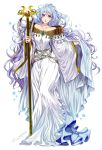1girl brooch diadora_(fire_emblem) dress fire_emblem fire_emblem:_seisen_no_keifu highres holding jewelry long_hair looking_at_viewer simple_background solo staff tsuko_(25mnts) violet_eyes wavy_hair white_background white_dress white_hair