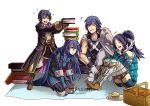 2boys 2girls armor blue_eyes blue_hair book book_on_head book_stack cape cloak closed_eyes cynthia_(fire_emblem) female_my_unit_(fire_emblem:_kakusei) fire_emblem fire_emblem:_kakusei gzei krom laughing lucina mark_(fire_emblem) multiple_boys multiple_girls my_unit_(fire_emblem:_kakusei) object_on_head picnic_basket siblings sitting