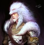 1boy alternate_costume beard dated facial_hair facial_mark fur_trim hanzo_(overwatch) lone_wolf_hanzo looking_at_viewer male_focus overwatch simple_background solo upper_body white_hair wolf_hood yang_hm