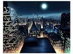 black_sky building city city_lights cityscape commentary_request full_moon hariken moon night original river scenery sky skyscraper star_(sky) starry_sky tower