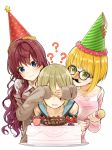 3girls :3 ? bare_shoulders bespectacled blonde_hair blue_eyes cake chocolate choker collared_shirt commentary_request covering_another's_eyes earrings fake_mustache fake_nose food fruit glasses green_eyes green_hair hat highres holding ichinose_shiki idolmaster idolmaster_cinderella_girls jewelry long_hair long_sleeves max_melon miyamoto_frederica multiple_girls off_shoulder parted_lips party_hat party_popper pink_sweater redhead shiomi_shuuko shirt simple_background strawberry strawberry_shortcake sweatdrop sweater translation_request white_background white_shirt wing_collar