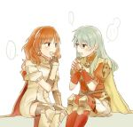 2girls aqua_hair armor blue_eyes blue_hair blush cape celica_(fire_emblem) dress earrings eirika fingerless_gloves fire_emblem fire_emblem:_seima_no_kouseki fire_emblem_echoes:_mou_hitori_no_eiyuuou fire_emblem_gaiden fire_emblem_heroes gloves intelligent_systems jewelry long_hair multiple_girls nintendo open_mouth pasu red_eyes redhead skirt smile thigh-highs tiara weapon