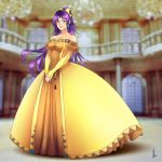 1girl aqua_eyes bare_shoulders blue_eyes blurry blurry_background bow closed_mouth dress faris_scherwiz final_fantasy final_fantasy_v full_body gown hair_bow high_ponytail highres jewelry long_hair necklace ponytail princess princesssarisa sarisa_highwind_tycoon signature solo v_arms very_long_hair yellow_bow yellow_dress