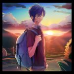 1boy akiyoshi_(tama-pete) backpack bag blue_hair brown_shirt clenched_hand closed_eyes clouds cloudy_sky day fingernails flower frame grass kaito lamppost male_focus mountain pants shirt short_hair sky smile sun sunflower sunlight twilight vocaloid white_shirt
