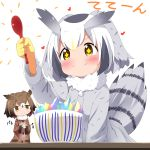 2girls blonde_hair blush brown_coat brown_eyes brown_hair clapping coat donburi eurasian_eagle_owl_(kemono_friends) eyebrows_visible_through_hair fur_collar gloves grey_coat grey_hair head_wings heart highres holding holding_spoon kemono_friends long_sleeves makuran multicolored_hair multiple_girls northern_white-faced_owl_(kemono_friends) sandstar short_hair simple_background smile sparkling_eyes tail_feathers white_background white_gloves white_hair yellow_eyes yellow_gloves