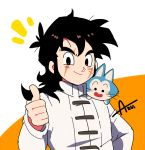 1boy artist_name azu_(kirara310) black_eyes black_hair cat chinese_clothes dragon_ball dragon_ball_super dragonball_z long_hair looking_at_viewer male_focus open_mouth orange_background puar scar simple_background smile thumbs_up white_background yamcha