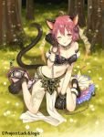 1girl ;p ahoge animal_ears bandeau bangs bare_shoulders blush brown_eyes cat_ears cat_girl cat_tail chains character_request closed_mouth collarbone day eyebrows_visible_through_hair forest full_body grass hair_between_eyes hina_logi_-_from_luck_&_logic kneeling looking_at_viewer nature navel nina_alexandrovna official_art on_grass one_eye_closed outdoors paws pelvic_curtain puffy_short_sleeves puffy_sleeves redhead short_hair short_sleeves smile solo spike_ball tail tongue tongue_out tree yuuki_rika