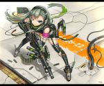 1girl armband cable elbow_gloves fingerless_gloves garter_straps gia gloves green_eyes green_hair gun headphones highres knee_pads leaning_forward long_hair looking_at_viewer original shorts smile solo thigh-highs trigger_discipline weapon
