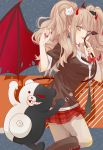 1girl bear_hair_ornament blue_eyes bow bra breasts brown_hair danganronpa danganronpa_1 demon_horns demon_tail demon_wings enoshima_junko hair_ornament horns long_hair looking_at_viewer medium_breasts monokuma mori_(519378803) necktie pleated_skirt red_skirt shirt short_sleeves skirt spoilers tail twintails underwear wings