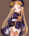 1girl abigail_williams_(fate/grand_order) bangs black_bow black_dress black_hat blonde_hair bloomers blue_eyes bow brown_background butterfly closed_mouth commentary_request dress fate/grand_order fate_(series) forehead hair_bow hat head_tilt long_hair long_sleeves looking_at_viewer nekogohan object_hug orange_bow parted_bangs polka_dot polka_dot_bow simple_background sitting sleeves_past_fingers sleeves_past_wrists solo stuffed_animal stuffed_toy teddy_bear underwear very_long_hair white_bloomers
