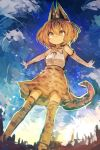 1girl absurdres animal_ears bangs blonde_hair bow bowtie clouds elbow_gloves eyebrows_visible_through_hair gloves hair_between_eyes high-waist_skirt highres kaamin_(mariarose753) kemono_friends serval_(kemono_friends) serval_ears serval_print serval_tail shirt skirt sky sleeveless sleeveless_shirt smile solo standing tail thigh-highs white_shirt yellow_eyes zettai_ryouiki