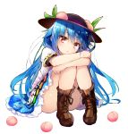 1girl :t bangs bare_legs black_hat blue_hair blue_skirt boots brown_footwear commentary_request efe eyebrows_visible_through_hair food fruit hat hinanawi_tenshi knees_together_feet_apart knees_up long_hair looking_at_viewer miniskirt panties pantyshot pantyshot_(sitting) peach pink_panties pout puffy_short_sleeves puffy_sleeves red_eyes shirt short_sleeves simple_background sitting skirt solo touhou underwear very_long_hair white_background white_shirt