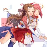 2girls bob_cut brown_hair closed_eyes elbow_gloves fire_emblem fire_emblem_if gloves headband hug hug_from_behind japanese_clothes kazahana_(fire_emblem_if) long_hair multiple_girls pink_hair red_eyes sakura_(fire_emblem_if) skirt smile thigh-highs transistor