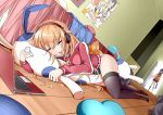 absurdres animal_pillow anotoki_ashi bed black_legwear blanket blonde_hair commentary_request computer drooling dutch_angle gabriel_dropout headphones heart heart_pillow highres indoors jacket laptop long_hair messy_hair no_pants on_floor perspective pillow poster purple_hair room school_uniform sleeping tenma_gabriel_white thigh-highs track_jacket tsukinose_vignette_april ukami walk-in wooden_floor