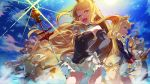 6+girls ;d aqua_eyes armpits arms_up azur_lane bare_shoulders belfast_(azur_lane) black_dress black_gloves blonde_hair blue_eyes blue_hair blush brown_eyes character_request closed_mouth commentary crown day detached_sleeves dress gloves hairband hand_on_hip holding holding_sword holding_weapon hood_(azur_lane) long_sleeves maid_headdress mini_crown multiple_girls one_eye_closed open_mouth outdoors parted_lips profile purple_hair queen_elizabeth_(azur_lane) scepter sidelocks smile sparkle standing strapless strapless_dress sun suppa_(hagakuresuppa) sword thigh-highs warspite_(azur_lane) water weapon white_dress white_legwear