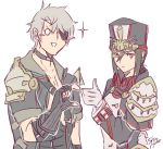 1boy 1girl eyepatch gloves hat jacket long_hair meleph_(xenoblade) military military_hat military_uniform pauldrons reverse_trap shiro_hunter short_hair sieg_b_goku_genbu simple_background smile thumbs_up uniform white_background white_gloves xenoblade xenoblade_2