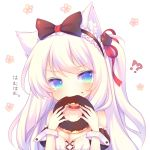 !? 1girl animal_ears azur_lane bangs bare_shoulders black_bow black_hairband blue_eyes blush bow breasts cat_ears cat_hair_ornament chocolate chocolate_doughnut chocolate_on_face choker cleavage collarbone doughnut eating eyebrows_visible_through_hair food food_on_face frilled_hairband hair_bow hair_ornament hair_ribbon hairband hammann_(azur_lane) head_tilt holding holding_food long_hair one_side_up puffy_short_sleeves puffy_sleeves red_choker red_ribbon remodel_(azur_lane) ribbon sakurato_ototo_shizuku short_sleeves sidelocks silver_hair small_breasts solo translated v-shaped_eyebrows white_background wrist_cuffs