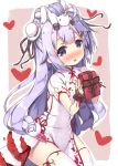 1girl asa_(swallowtail) azur_lane bangs black_ribbon blush box bun_cover commentary_request dress eyebrows_visible_through_hair gift gift_box hair_bun heart holding holding_gift looking_at_viewer nose_blush on_head parted_lips pelvic_curtain puffy_short_sleeves puffy_sleeves purple_hair ribbon short_sleeves side_bun sitting solo stuffed_animal stuffed_pegasus stuffed_toy stuffed_unicorn thigh-highs unicorn_(azur_lane) valentine violet_eyes white_dress white_legwear wrist_cuffs
