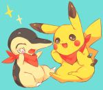 :3 :d ^_^ bandanna black_eyes blue_background blush closed_eyes clothed_pokemon commentary_request cyndaquil hideko_(l33l3b) highres holding no_humans open_mouth pikachu pokemon simple_background sitting smile star