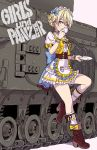 1girl alternate_costume apron blonde_hair blue_eyes blush boots bow braid breasts churchill_(tank) commentary_request copyright_name cup darjeeling frills full_body girls_und_panzer ground_vehicle highres holding holding_cup looking_at_viewer maid maid_apron maid_headdress medium_breasts military military_vehicle motor_vehicle pink_background puffy_sleeves saucer short_hair simple_background skirt solo standing tank teacup tied_hair twin_braids waist_apron yamashita_shun'ya