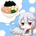 1girl ahoge blush_stickers braid breasts drooling finger_to_mouth food kishin_sagume kuroki_horse noodles ramen red_eyes simple_background solo tied_hair touhou white_hair