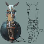 1girl aqua_eyes aqua_hair arms_behind_back ars_goetia ball_and_chain_restraint bit_gag bound bound_arms bound_legs breasts chains commentary_request cuffs dark_skin fantasy gag hair_between_eyes hooves horse_tail kamukamu6392 loincloth long_hair looking_at_viewer midriff monster_girl navel original pelvic_curtain pointy_ears shackles simple_background small_breasts tail tied_up